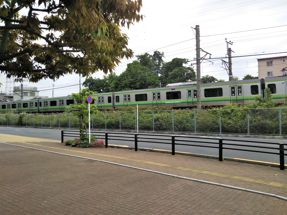 町田市役所から見えるJR横浜線の電車
