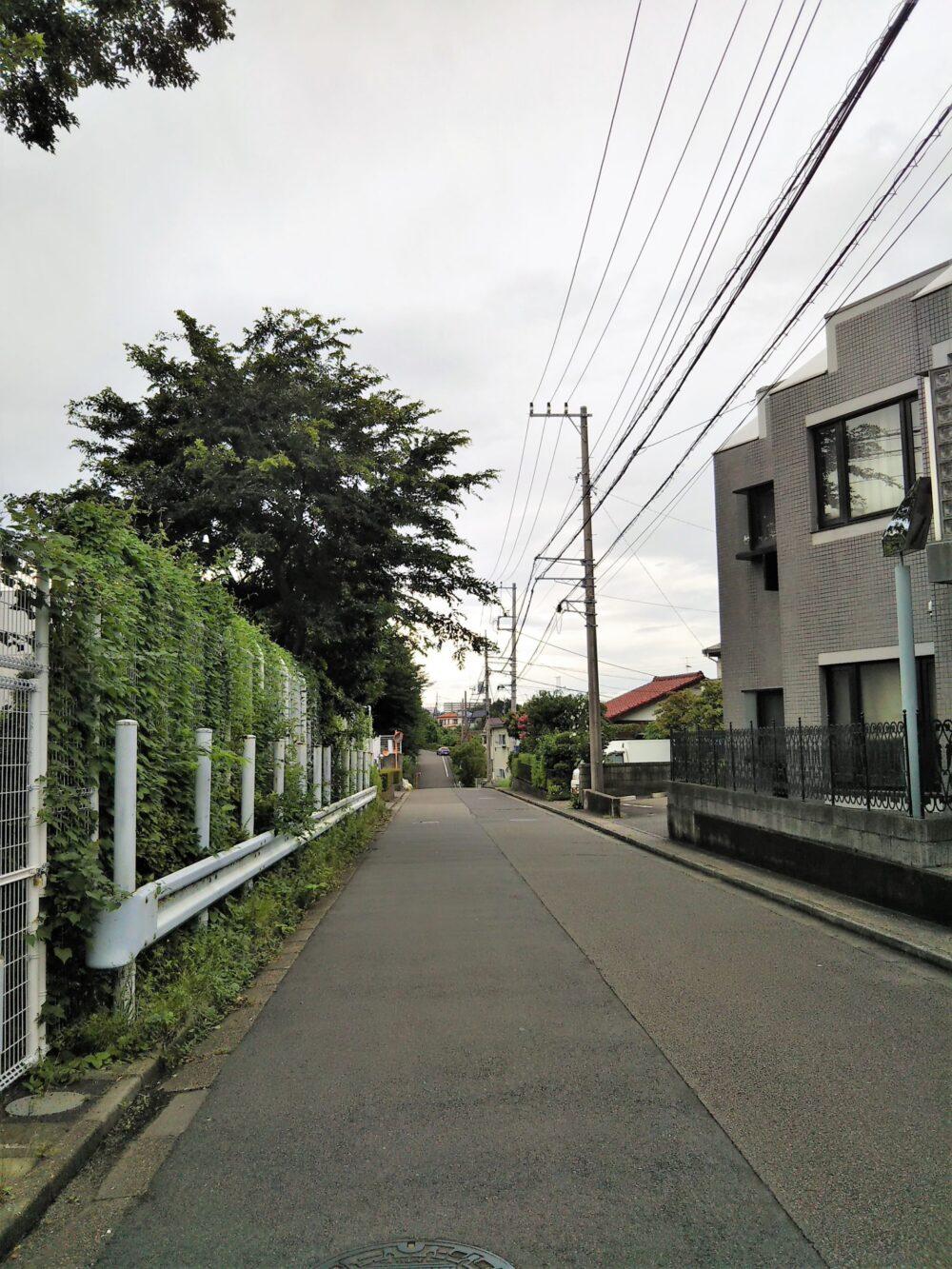 長津田倉庫から長津田検車区へ続く道路