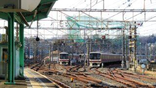 若葉台駅ホームから見える車両基地
