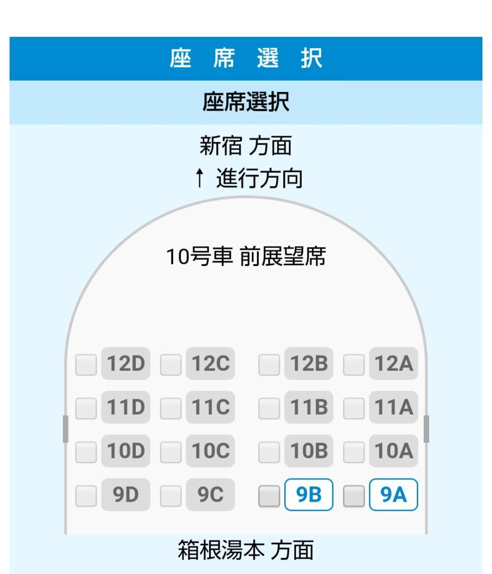 特急ロマンスカーVSEの座席表