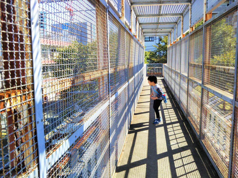 跨線橋から見える神奈川新町駅に停車する電車