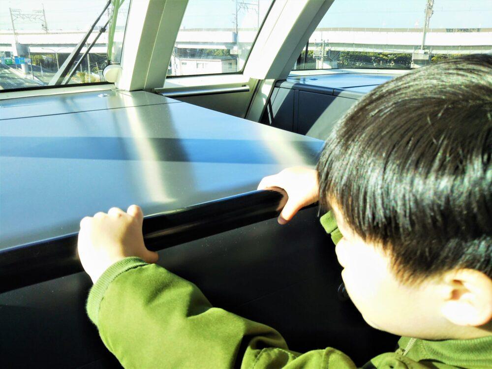 ディズニーリゾートライン 先頭車両の最前列に座る子供