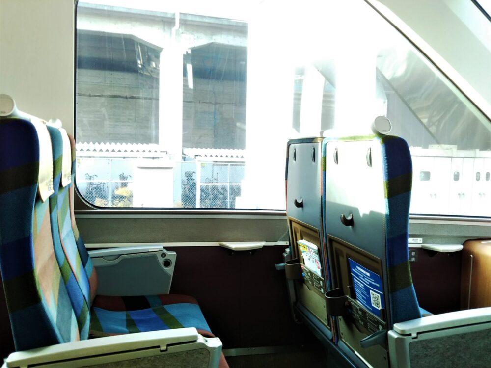 ロマンスカーGSEの展望席2列目座席の窓