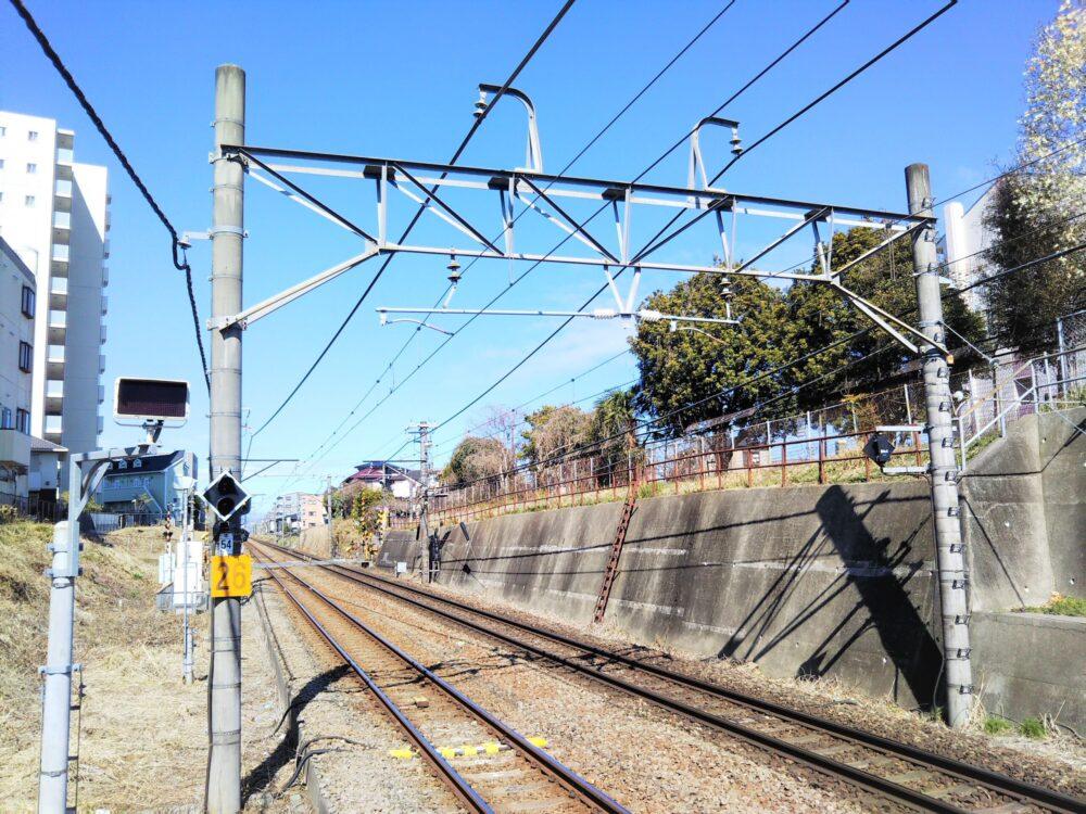 古淵駅ホームから見える古淵北公園