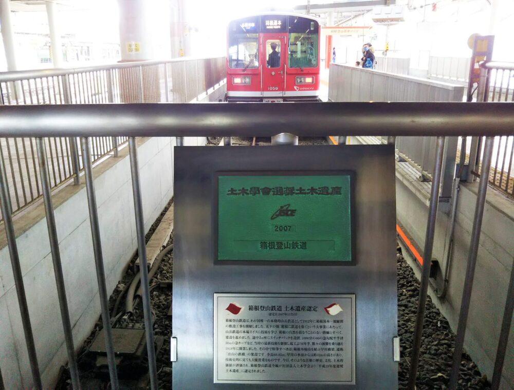 小田原駅に入線する箱根登山電車(車止め側)