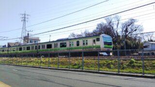 町田市役所で見える横浜線の電車