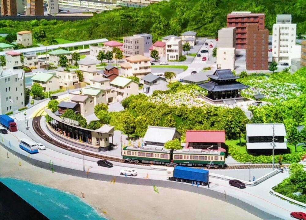 ロマンスカーミュージアムのジオラマパーク 鎌倉・片瀬江ノ島駅ゾーンと江ノ電