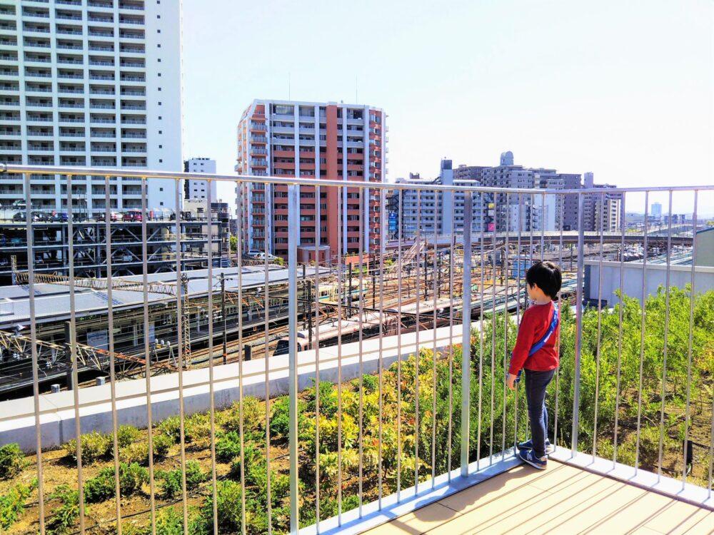 ロマンスカーミュージアム屋上で電車を見る子供