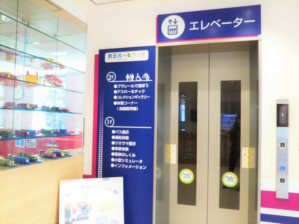 京王れーるランド2階のエレベーター