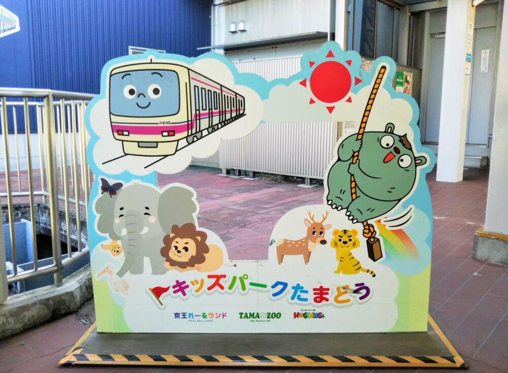 京王線の多摩動物公園駅にある撮影パネル