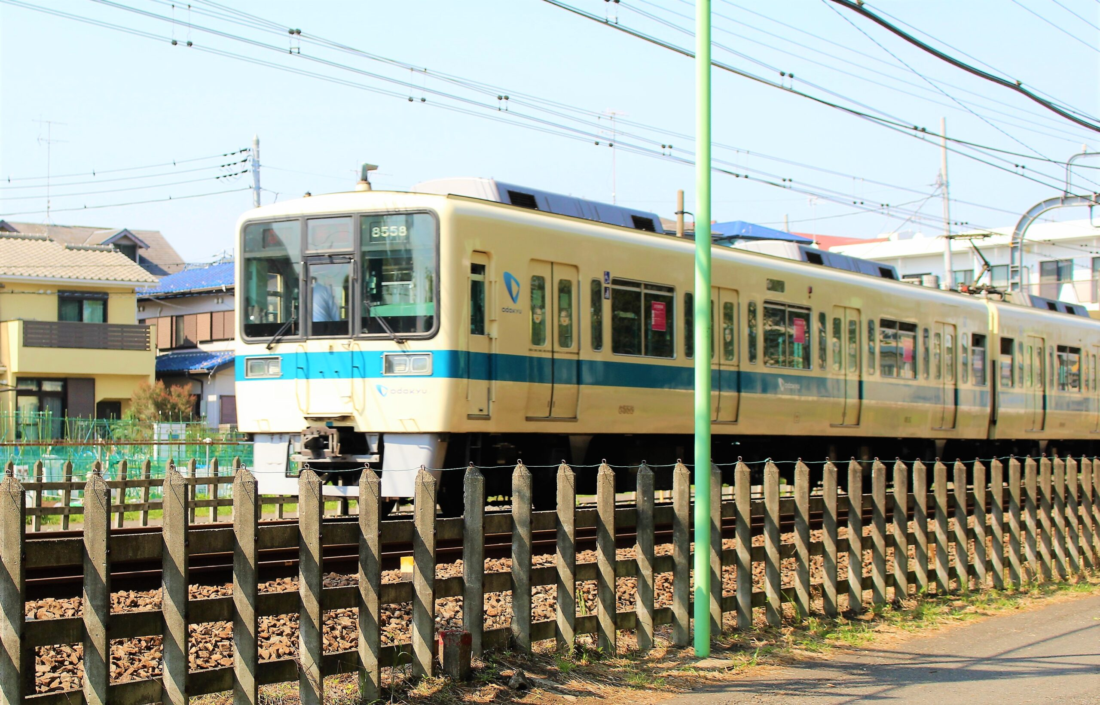 林間公園前から見える小田急線の電車