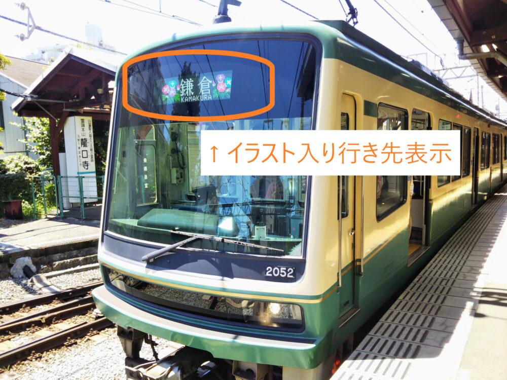 江ノ電の車両にあるイラスト入り行き先表示