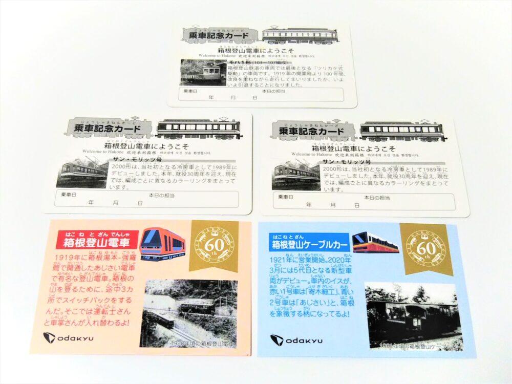 箱根登山鉄道の電車カード(裏)