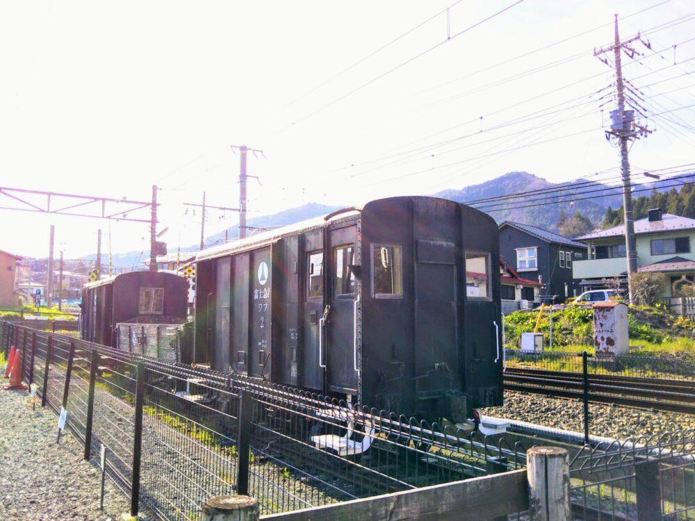 下吉田駅に展示の貨車