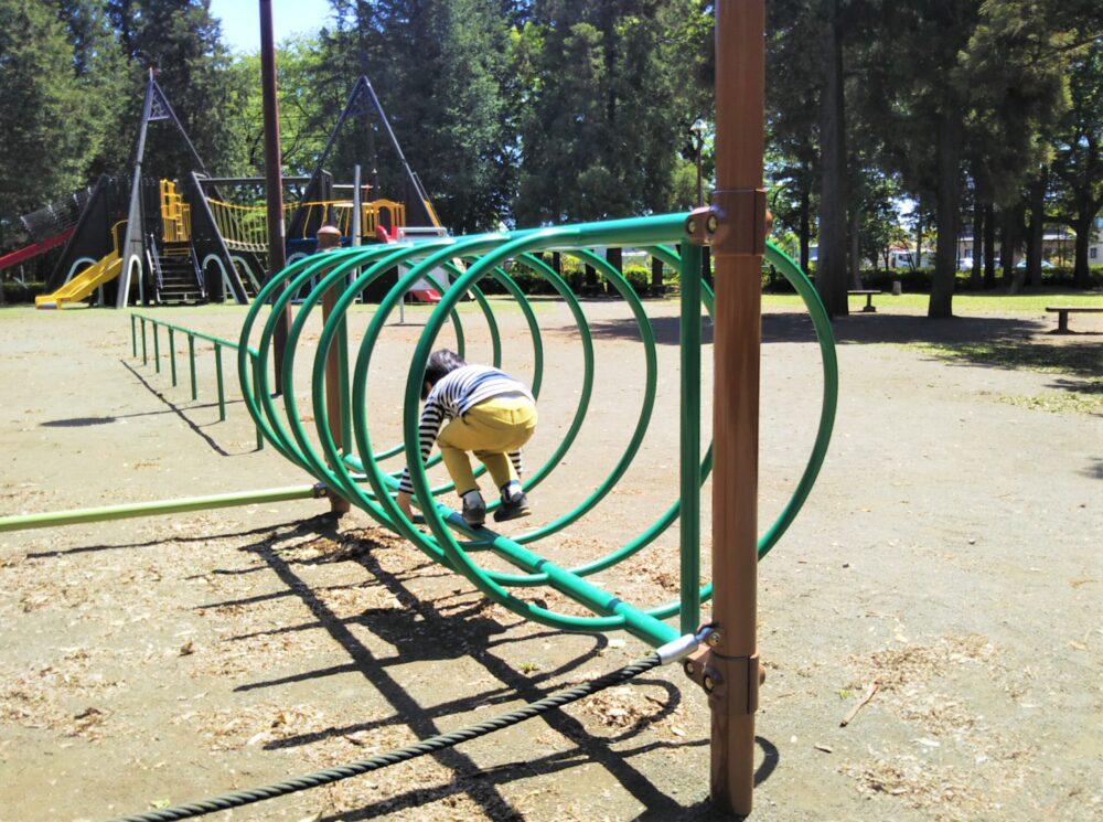 淵野辺公園のターザンロープ周辺の遊具