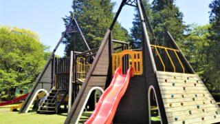 淵野辺公園の大型複合遊具 ウェーブ滑り台とクライミング用の壁