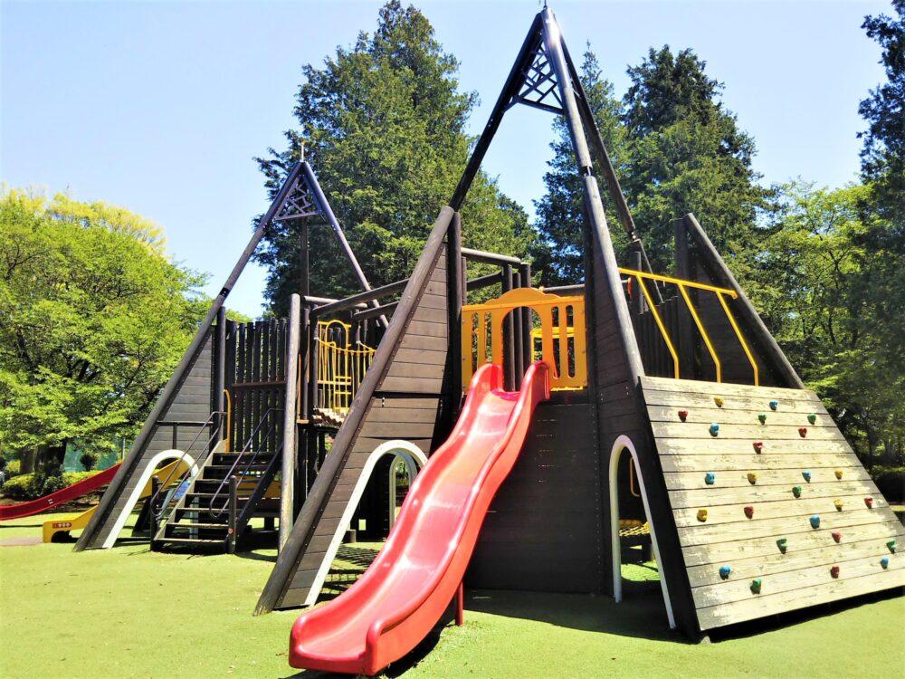 淵野辺公園の大型複合遊具|ウェーブ滑り台とクライミング用の壁