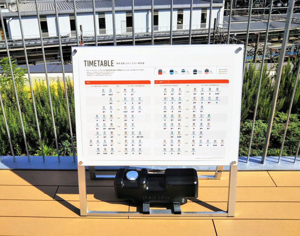 ロマンスカーミュージアムの屋上にあるロマンスカー時刻表