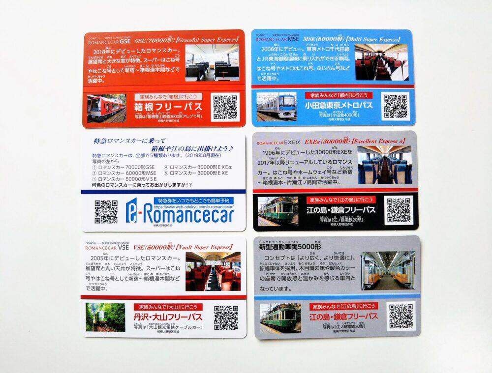 小田急相模大野管区「駅めぐり」でもらえる電車カード(裏)