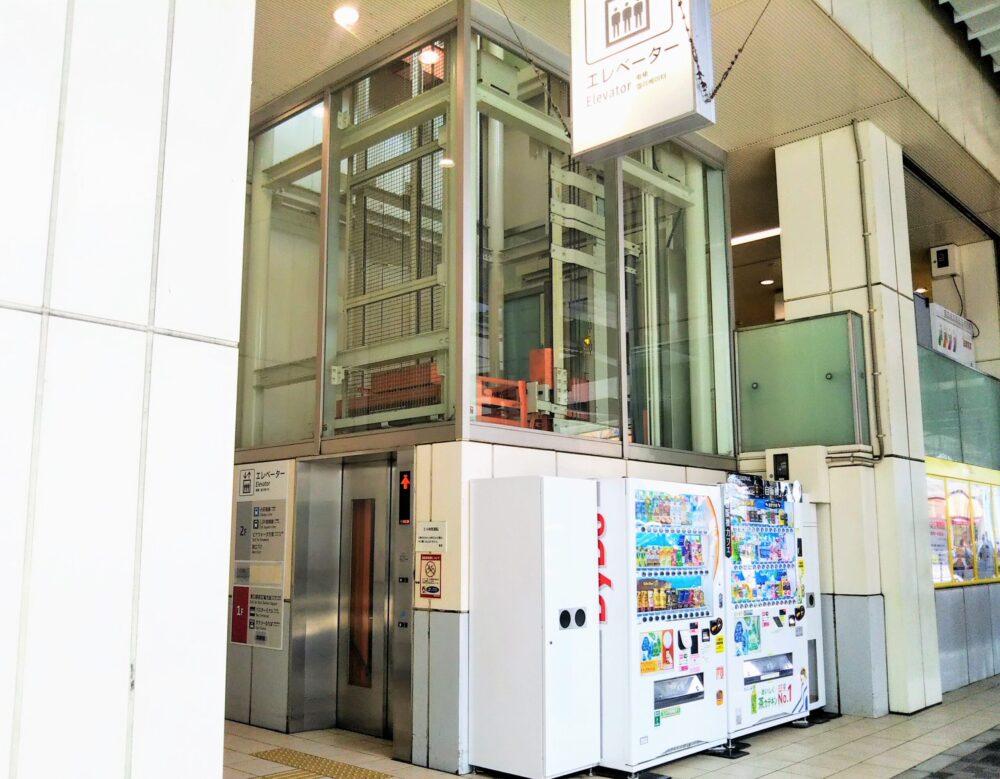 海老名駅の東口1階にあるエレベーター
