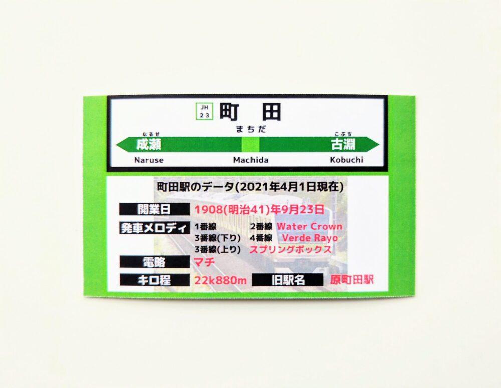 JR町田駅でもらえるJR横浜線の電車カード(裏)