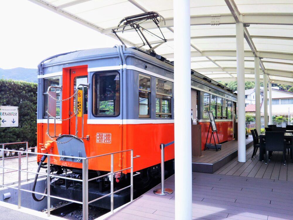 えれんなごっそカフェ|箱根登山鉄道の引退車両の後方