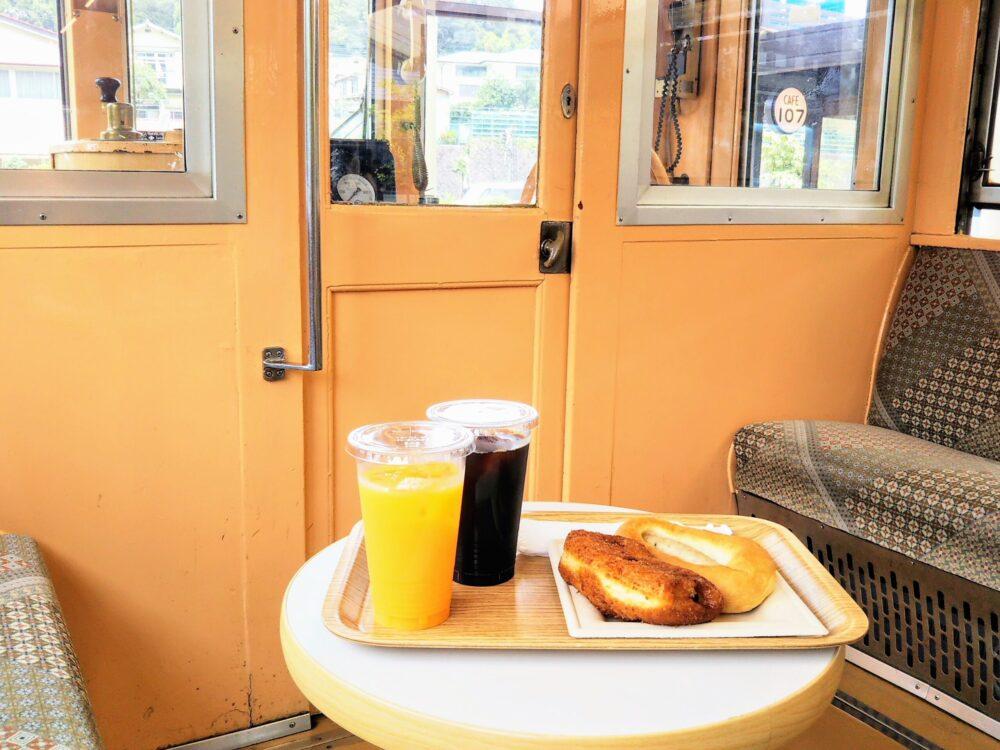 えれんなごっそカフェ|箱根登山鉄道の引退車両の車内(運転席側)