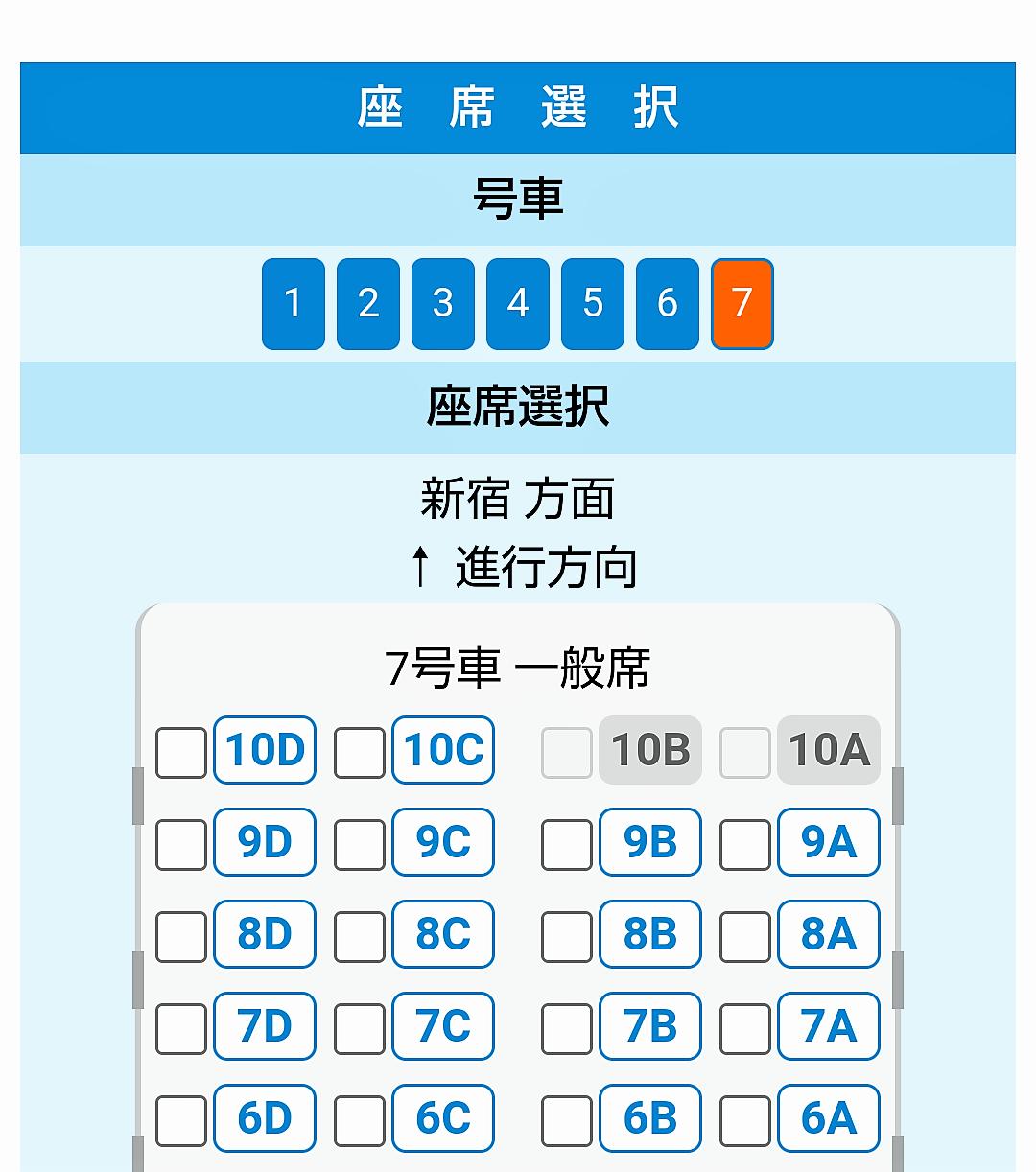 ロマンスカーGSEの一般席7号車【座席表】