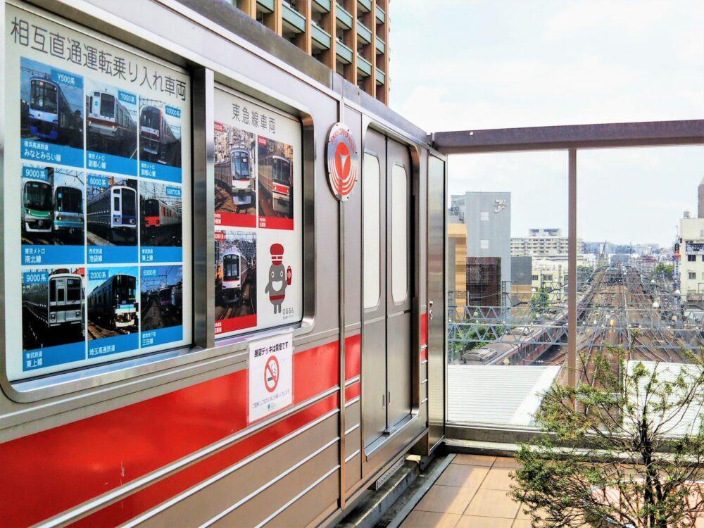 東急スクエア 展望デッキと東横線の電車