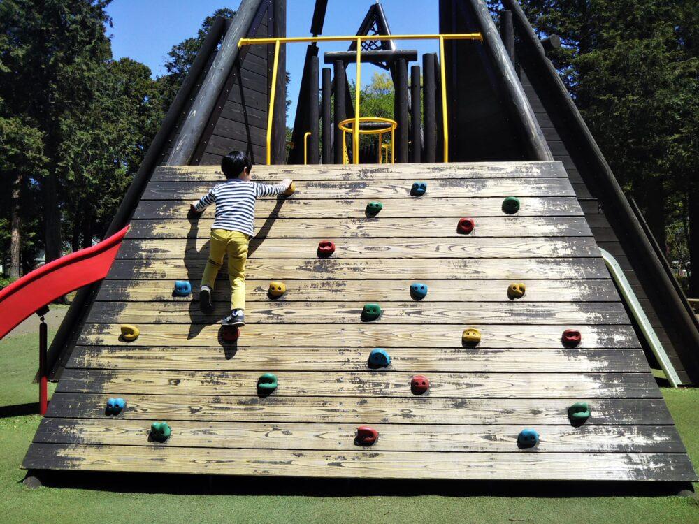 淵野辺公園の大型複合遊具|クライミング遊具-
