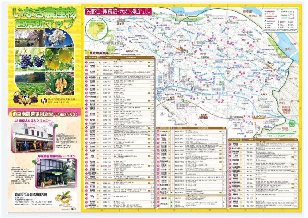 稲城市農作物直売所マップ(表)