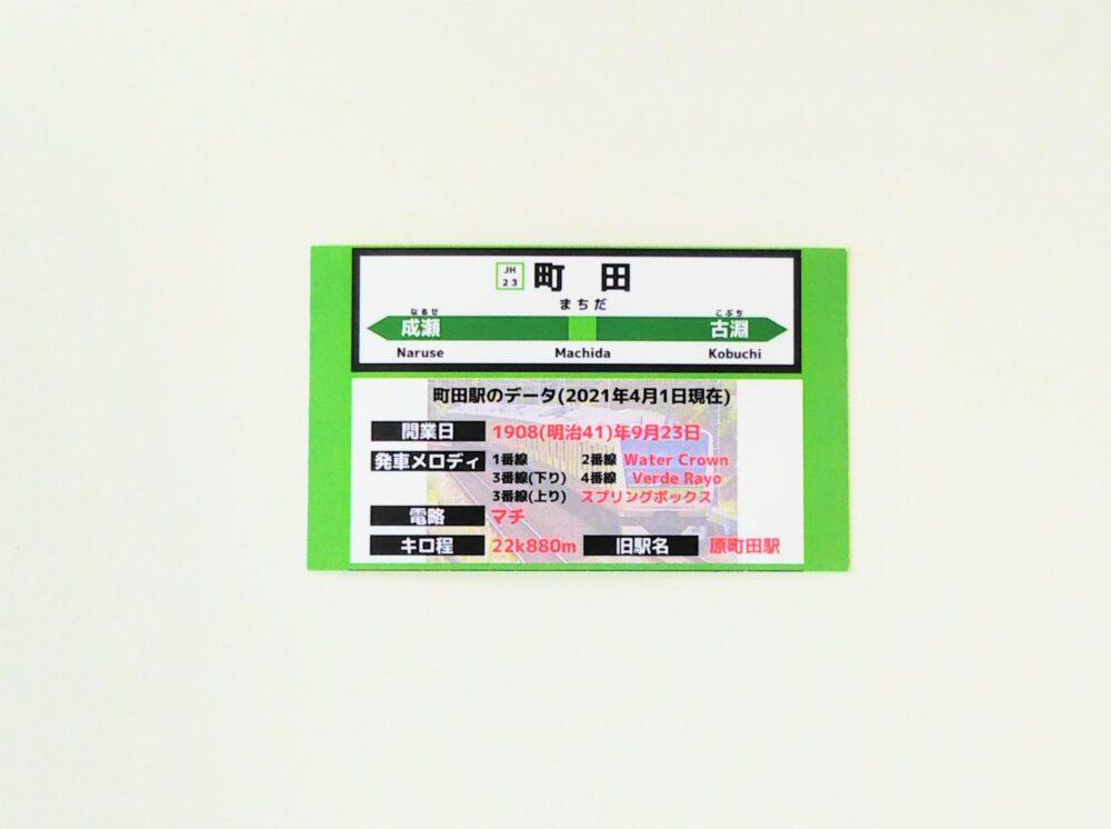JR横浜線の電車カード(裏)